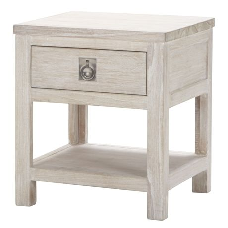Cancun 1 Drawer Bedside Table  White Wash