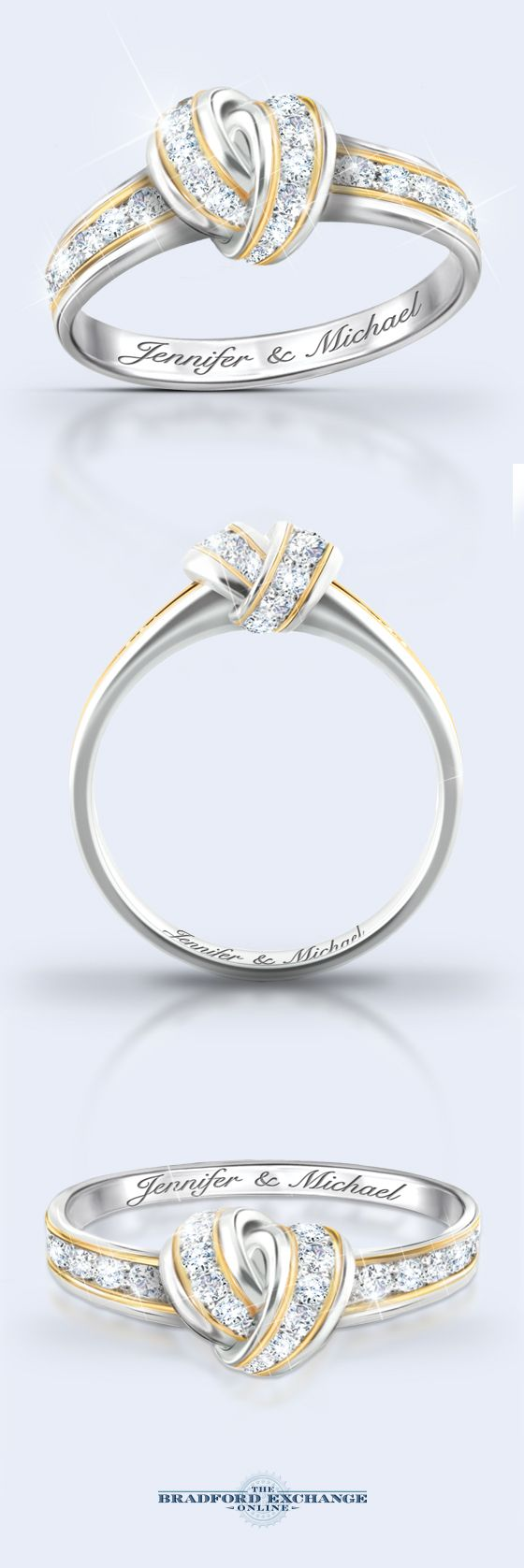 The love knot symbolizes your forever bond perfectly! That iconic symbol is blended seamlessly into the design of this personalized diamond ring. 12 sparkling diamonds create an unparalleled dazzle and your 2 names are engraved for free inside the band. Visit our site to preview your names and personalize this romantic ring today. I gotta get this. Beautiful