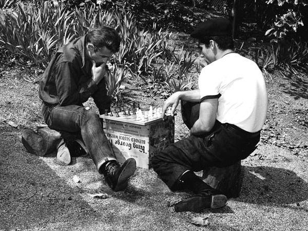 James Dean playing chess on the set of Rebel without a cause