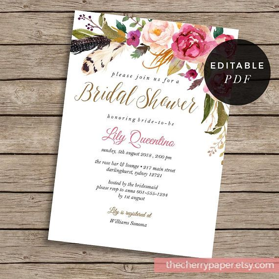 Flower Bridal Shower, Floral,Invitation, Invite, pink, blush, flowers, watercolor, diy, rustic, boho, editable,downloadable,INSTANT
