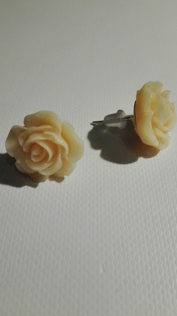 Boucles d'oreilles clou en forme de rose orange clair 10mm