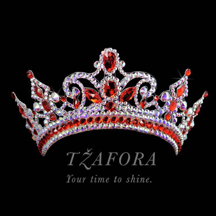 Custom project. Crystal AB and Light Siam crown. Ballroom dance jewelry, ballroom dance dancesport accessories. www.tzafora.com Copyright ©️️️️️️️ 2017 Tzafora.