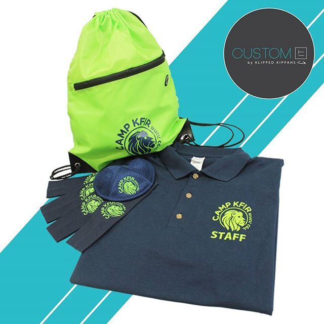 """SUMMER IS HERE! Check out this awesome coordinated #CampKfir gear. Embroidered mesh Klipped Kippah, Embroidered headbands, Neon green draw string bag, Staff shirts and Safety green camper shirts. #custom #customdesign #CustomIT #events  www.klippedkippahs.com www.customityourway.com"" by @klipped_kippahs. #이벤트 #show #parties #entertainment #catering #travelling #traveler #tourism #travelingram #igtravel #europe #traveller #travelblog #tourist #travelblogger #traveltheworld #roadtrip…"