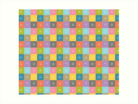 Emoji Emoticon Pattern Illustration by Gordon White | Emoji Art Prints Available in 4 Sizes @redbubble --------------------------- #redbubble #emoji #emoticon #smiley #faces #cute #addorable #pattern #frame #print #artprint #wallart