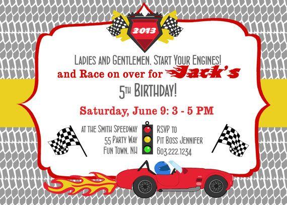 35 best race car theme images on pinterest | race cars, race car, Birthday invitations