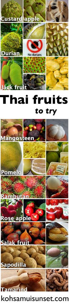 Taste-testing: 10 Thai fruits to try (custard apple, durian, jack fruit, mangosteen, pomelo, rambutan, rose apple, salak fruit, sapodilla, tamarind) #fruit