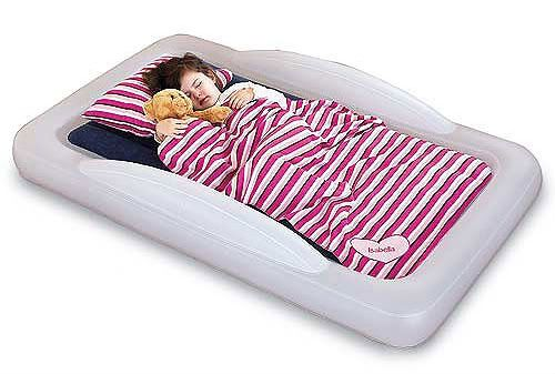 Inflatable toddler travel bed. The sheets tuck in! Will need this within a year for sure