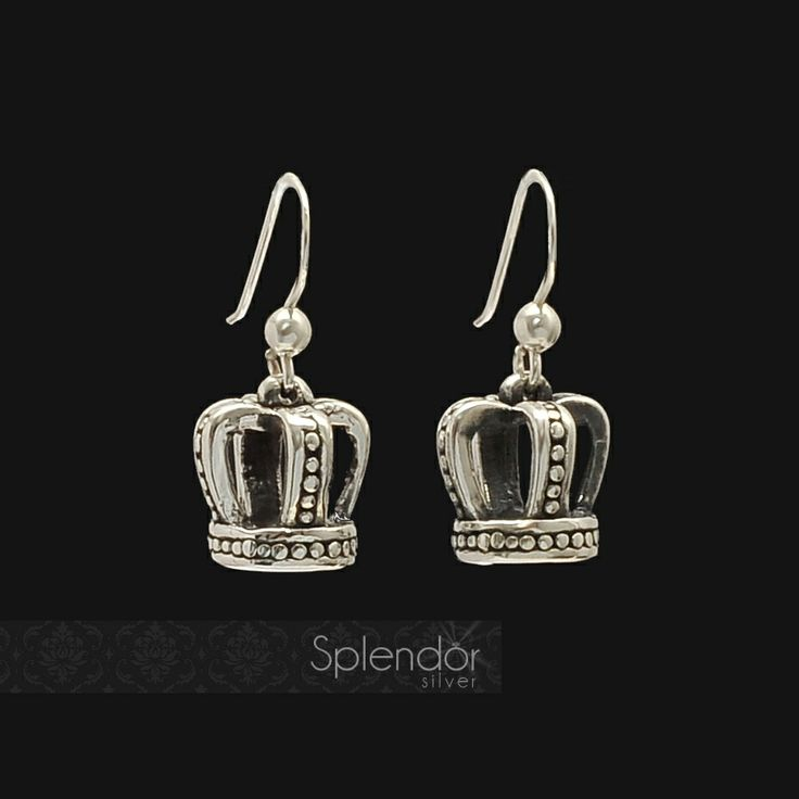 Crown sterling silver drop earrings. #SplendorSilver #Australia #Earrings #Sterling #Silver #Jewellery