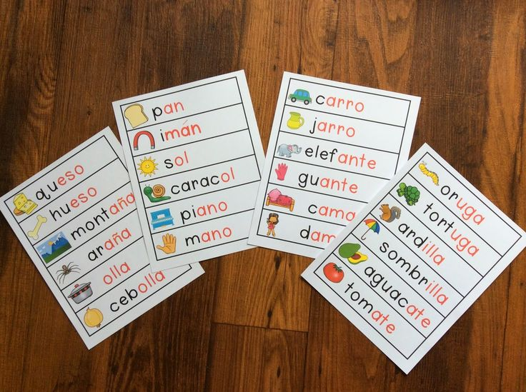 Bilingual Kindergarten Blog: Spanish Rhyming pocket chart cards. The rime is in red. The onset is in black. (manualidades para Rimar en espanol)