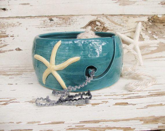 Ceramic yarn bowl knitting crochet starfish ocean handmade ceramic teal blue