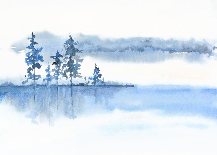 Serene Art Landscape Watercolor, Serene Painting, Calming Wall Art Print, Tranquil Print Art, Blue Watercolor Art, Yoga Artwork, Meditation