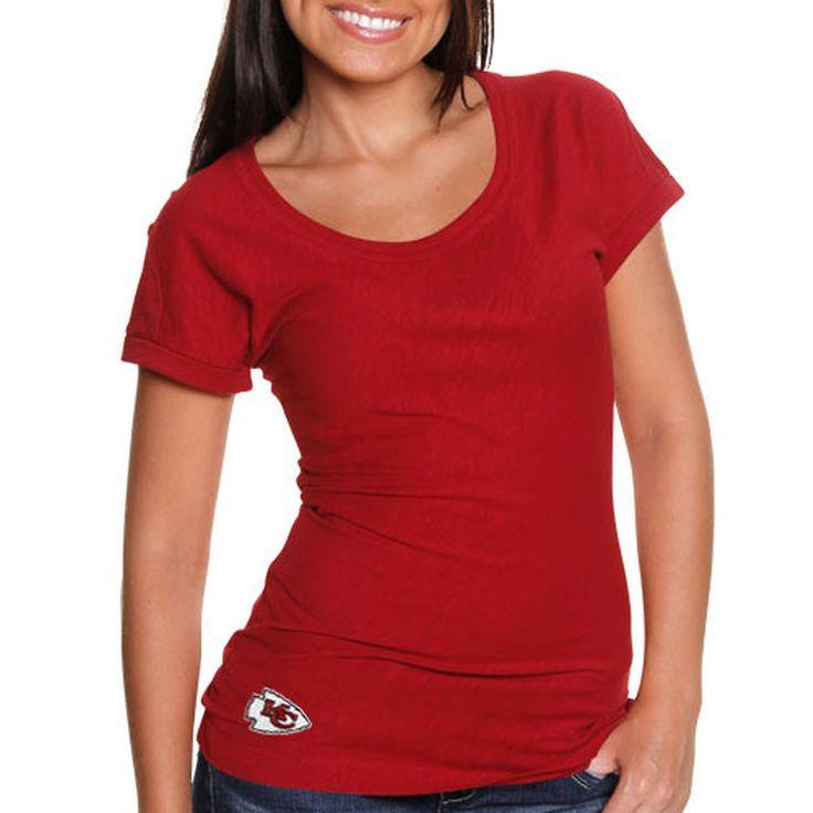 Cutter & Buck Kansas City Chiefs Women's Double Team Slub Scoop Neck T-Shirt - Red