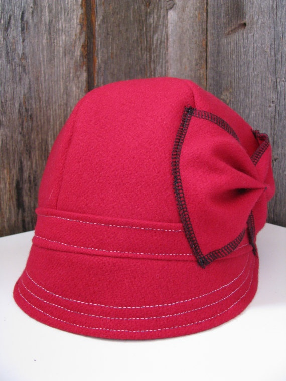 Crimson Red Wool Cloche Hat with Bow size 23 1/4 by sugarsoul, $65.00