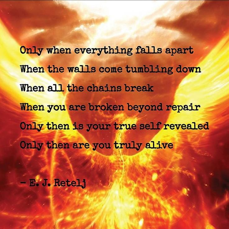 Only when everything falls apart When the walls come tumbling down When all the chains break When you are broken beyond repair Only then is your true self revealed Only then are you truly alive - E. J. Retelj  #poetry #quote #quotestoliveby #truth #transcend #death #life #fall #destroy #walls #chains #self #identity #spiritual #deep #ejretelj