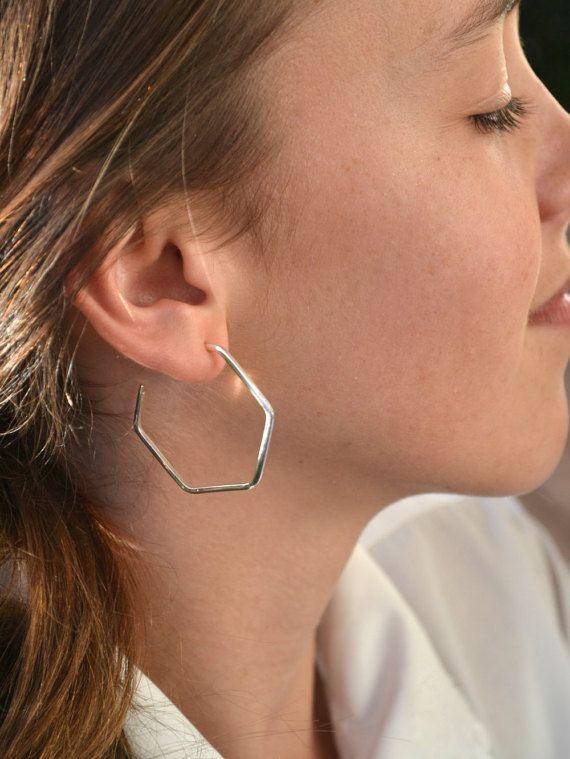 Hexagon hoop earrings sterling silver 925  by JulesReadJewellery