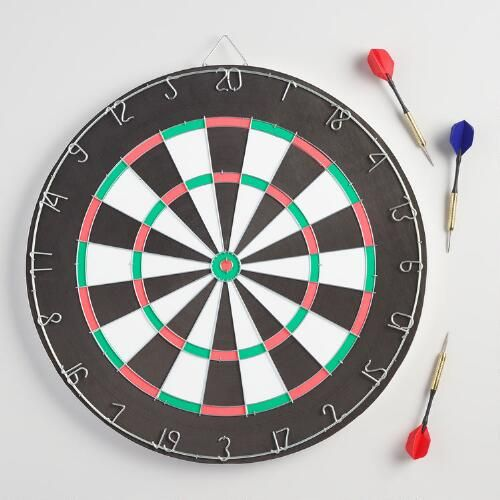 Hang this reversible dartboard on the wall of your den or game room, grab a friend or two and get ready for a thrilling game of skill. This classic game includes two sets of three darts, and features a traditional target design on one side and a target board to challenge your aim on the reverse side.
