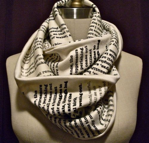 Scarf printed with excerpts from Pride and Prejudice: Fashion, Style, Infinity Scarf, Pride And Prejudice, Book Scarf, Scarfs, Good Books