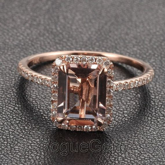 Voguegem Halo Emerald Cut Morganite0.26ctw Diamond Claw Prongs 14K Rose Gold Wedding Ring