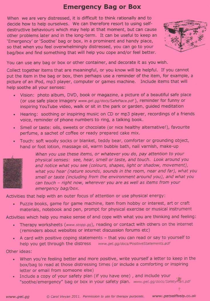 Emergency/Distress Tolerance Kit ideas