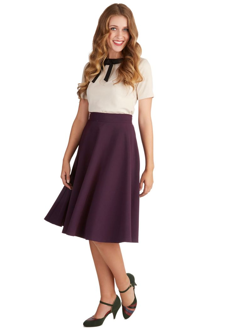Bugle Joy Skirt in Plum. You hear your friends truck horn toot outside your window - your trumpet call to scoot this A-line skirt out the door and hop in! #purple #modcloth