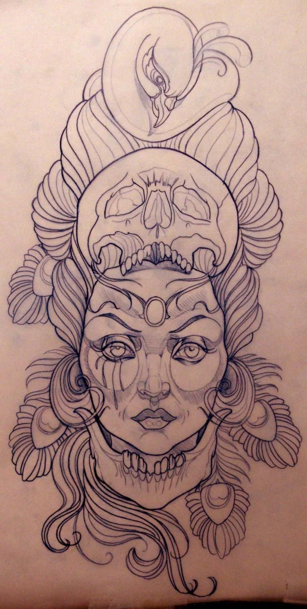 Emily Rose Murray – Tattoo Sketch I wouldn't want it permanently on my body but its a super cool drawing.