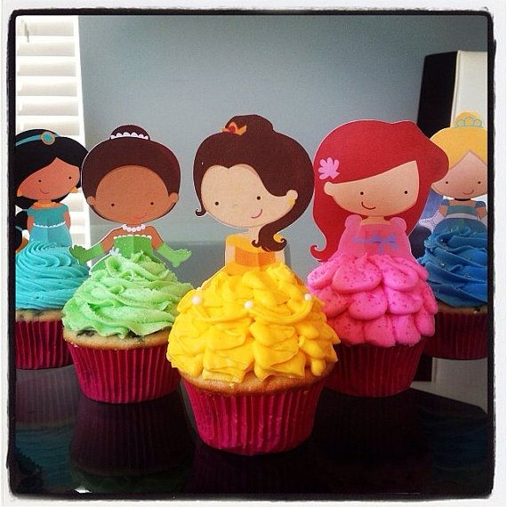 Your Cupcake is Her Dress Princess Cupcake Toppers Decoraciones para fiestas de cumpleaños Set de 12 muy lindos inspirados en Disney   – DESSERTS