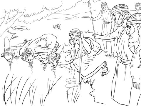 gideon selects his army of 300 men coloring page - Gideon Bible Story Coloring Pages