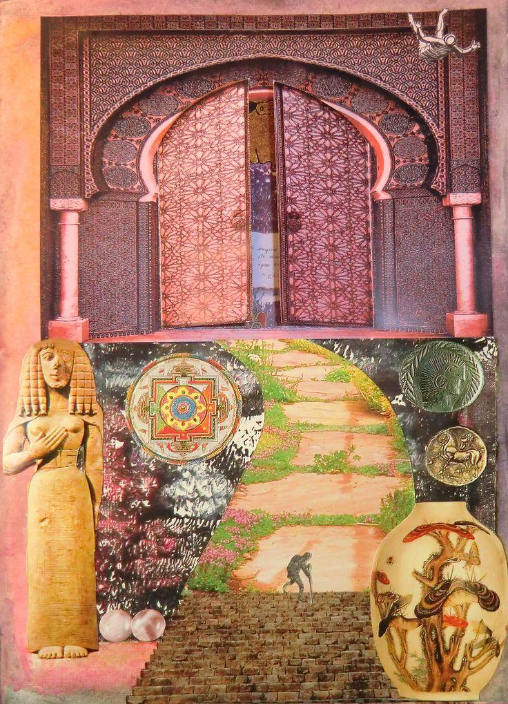 mixed media 3 Marokkaanse deur waterverf, sjabloon, collage, citaat