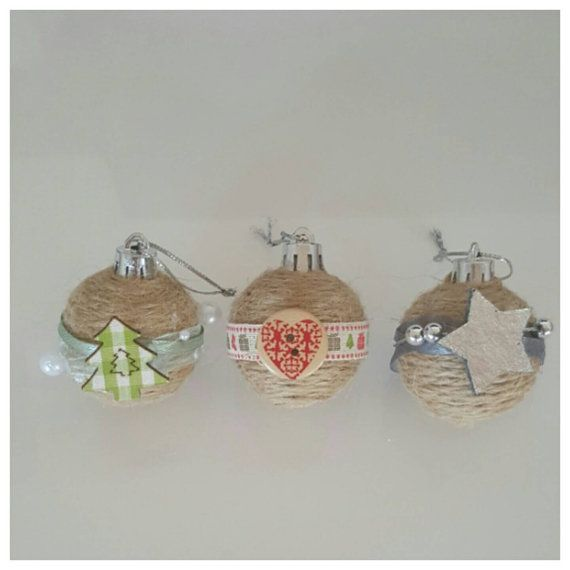 Check out this item in my Etsy shop https://www.etsy.com/au/listing/255295480/set-of-3-mini-ornaments-jute-twine