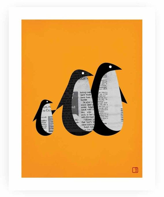 penguin shuffle orange (home decor, print, painting, art, penguin, animal, orange)