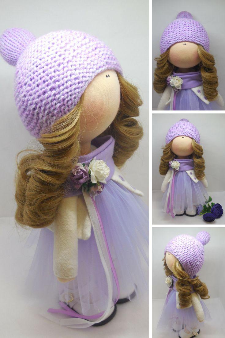 Muñecas Rag doll Photo doll Fabric doll Textile doll Handmade doll Tilda doll Art doll Purple doll Soft doll Cloth doll Baby doll by Maria M