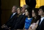 Secretary of the Navy (SECNAV) the Honorable Ray Mabus sits next to Caroline Kennedy and her family before announcing the name of the next nuclear powered aircraft carrier as USS John F. Kennedy (CVN 79).