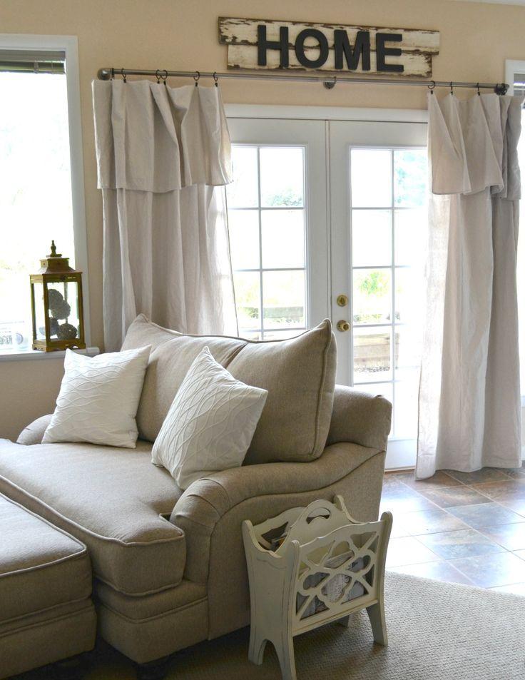 simple cozy basement tour sarah joy curtains living room farm house living room on farmhouse kitchen curtains id=61316