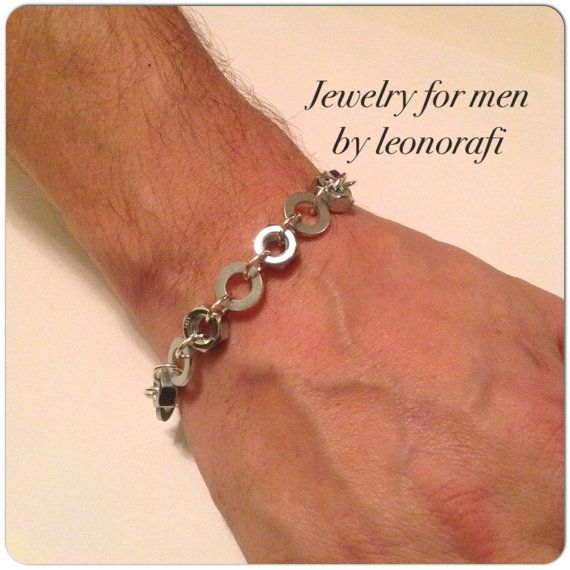 Jewelry for men by leonorafi Bracelet nuts and washers, bracelet for men