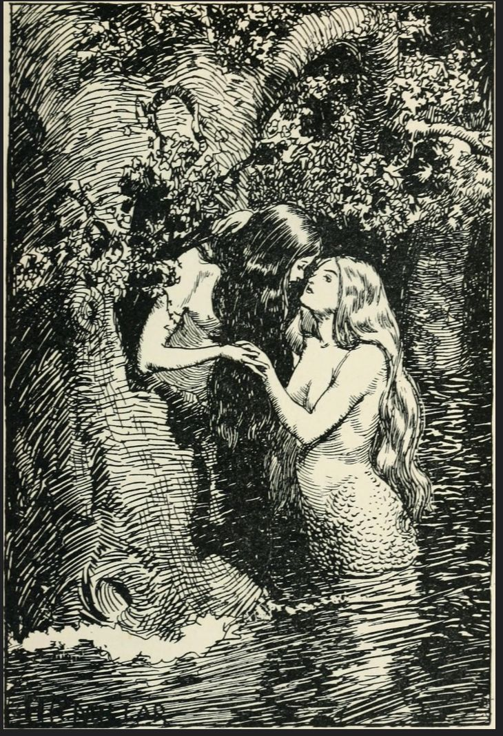 """The Nymph caught the Dryad in her arms.""The New World Fairy BookHoward Angus KennedyIllus. by H.R. MillarLondon: J.M. Dent & Co., 1904."