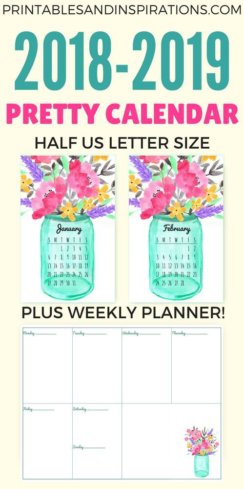 Free Printable Half Size Calendar 2018 And 2019 Planner Inserts