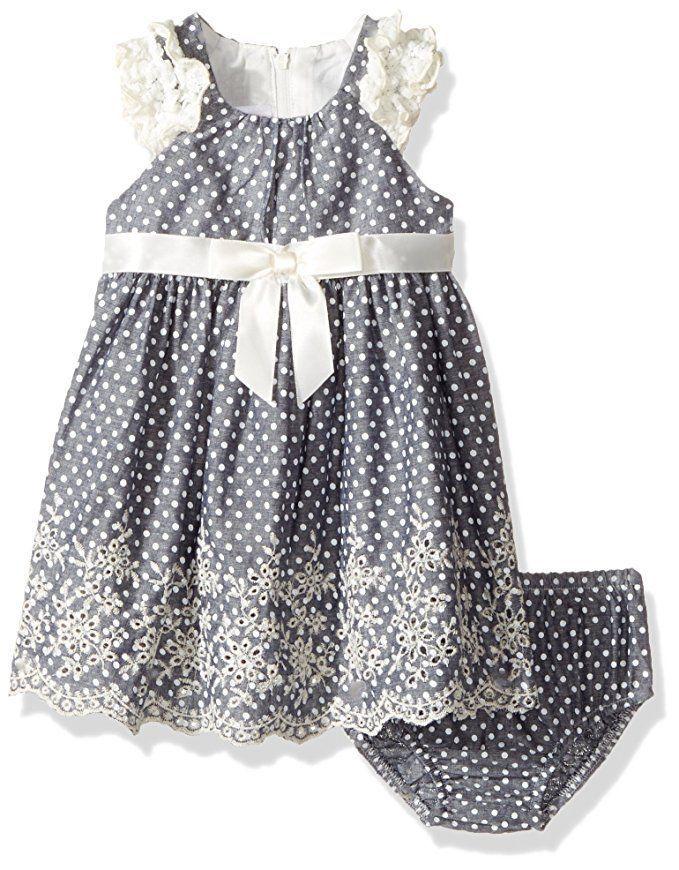 4036dc08d Bonnie Jean Baby Girls Chambray Dot Eyelet Lace Ruffle Bow Dress Set Size  6-9 M #BonnieBaby #Everyday