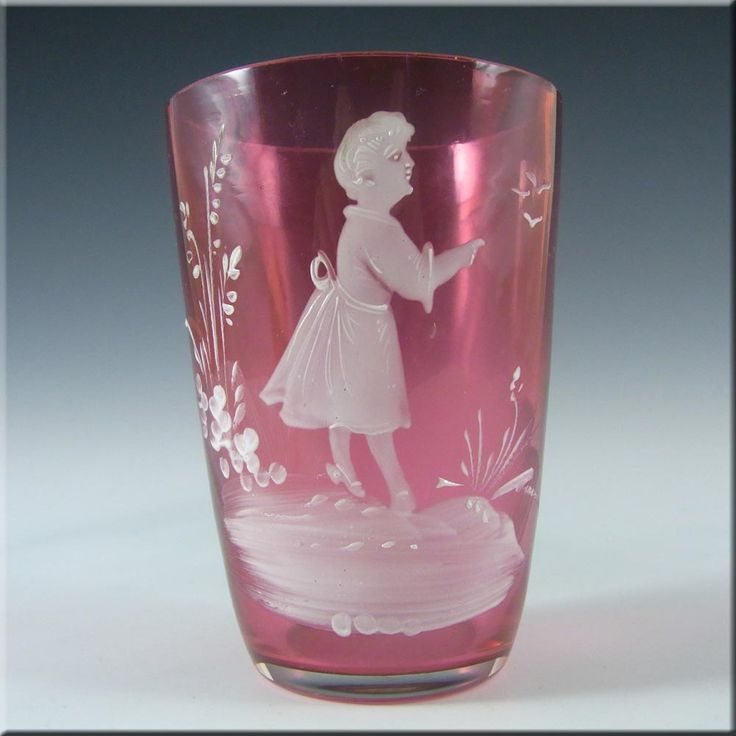 Mary Gregory Bohemian Hand Enamelled Pink Glass Tumbler #2 - £30.00