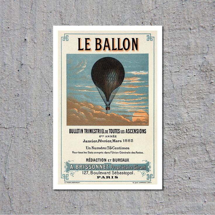 Le Ballon - Advertising for French Aeronautical Journal - Paris ca.1883 - Vintage Poster // High Quality Fine Art Reproduction Giclée Print by TheRetroPoster on Etsy