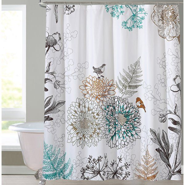 Phoebe Floral Single Shower Curtain Floral Shower Curtains Bird Shower Curtain Shower Curtain