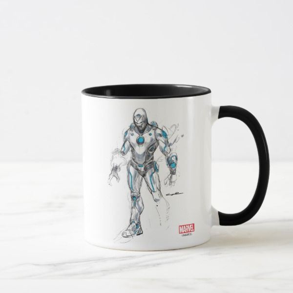 Superior Iron Man Sketch Mug -  Check out this sketch of Superior Iron Man, detailed in pencil and marker.       ... #custom #beach themed #gift #mug design by #MarvelNow - #mug #superiorironman #pencil #pen #marker #sketch #superhero #comicbook #marvelcomics