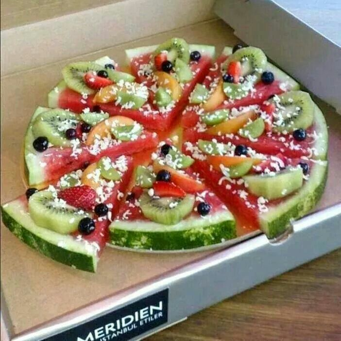 Watermelon with other fruit on top