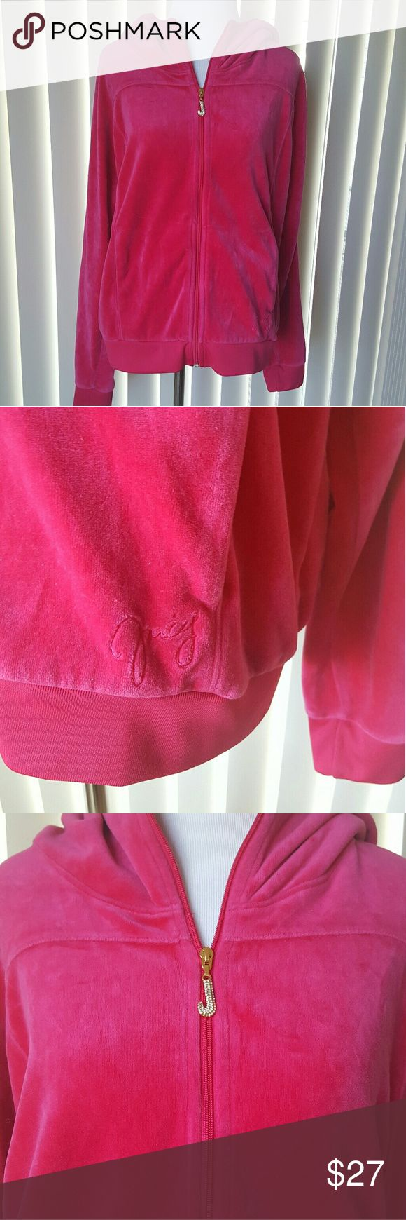 """Juicy Couture Bright Pink Velour Jacket Bright pink EUC Velour Jacket with hood. Gold zipper. There is one small spot where the Velour is a little more 'crushed' than the rest (pictured)  BUST 45"""" LENGTH 23"""" Juicy Couture Jackets & Coats"""