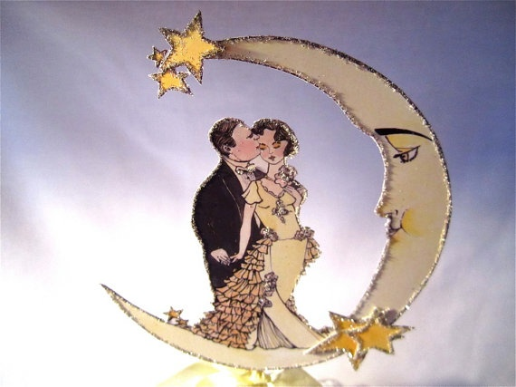 Paper Moon Wedding Cake Topper    Vintage by JolieEnRoseVintage, $28.00