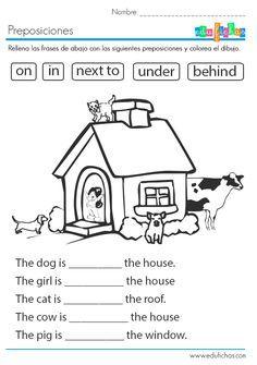 Ficha educativa con las preposiciones en inglés: aprende in, on, under, behind y next to. Fichas infantiles para aprender inglés gratis. Edufichas.com #ingles #english #kids