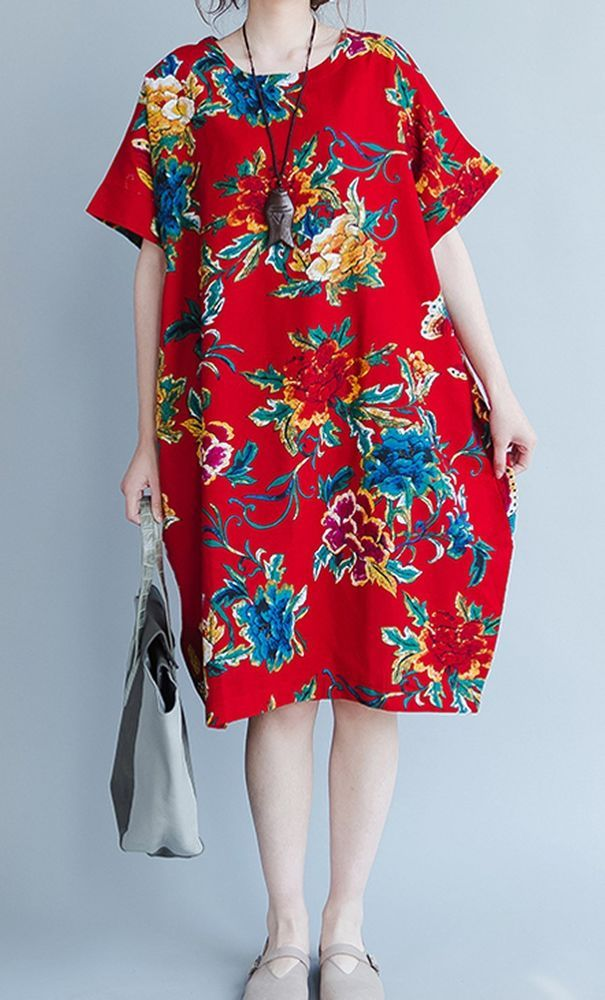 Women loose fitting over plus size retro flower dress tunic pregnant fashion #Unbranded #dress #Casual