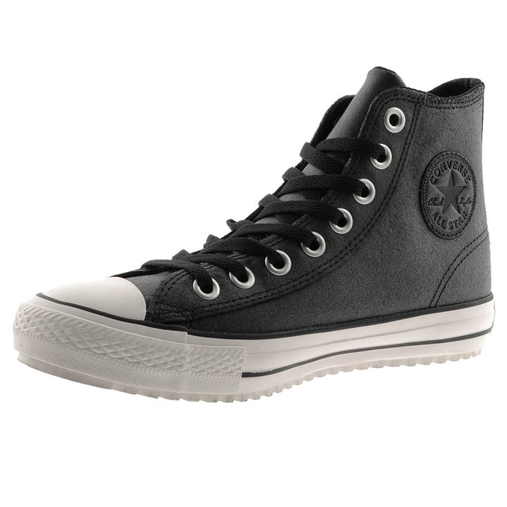 £34.65 Converse Chuck Taylor Boots In Faded Black And Grey These boots have a 3M Thinsulate insulation which is designed for footwear to be thin lightweight and warm to trap and hold body heat using microfibers and be effective in damp conditions. Full lace fastening in black with eight silver metal eyelets and faded black grey leather uppers. The signature Converse All Star Chuck Taylor logo patch is on the inside of the ankle in grey and black leather with the Converse All Star rubberised…