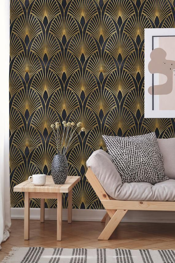 Removable Wallpaper Peel And Stick Geometric Wallpaper Etsy Art Deco Wallpaper Geometric Wallpaper Removable Wallpaper