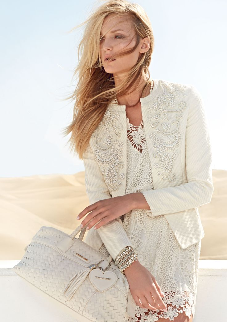 TWIN-SET Simona Barbieri: Cotton pique jacket with stones embroidered, sleeveless macramé dress, bracelets and woven box bag