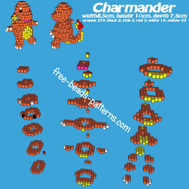 3D Pokemon Charmander - Free Perler Bead Pattern